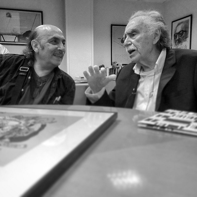 Encuentro de amigos. Magú y Payán. #Barcelona #Jornada #Periodismo #Comunicación @MaguMonero #Payán